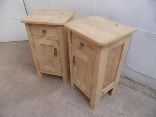 Panelled Small Pair of Victorian Antique Pine Bedside Cabinets to wax / paint (1 of 10)
