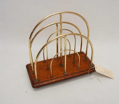 Victorian William Tonks Brass & Oak Desk Top Magazine or Letter Rack (1 of 11)
