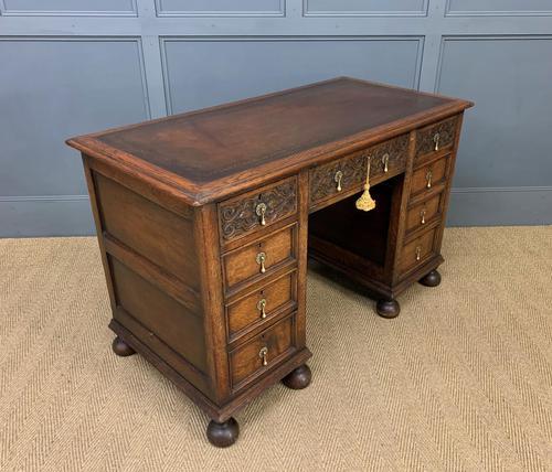 Good Carved Oak Pedestal Desk (1 of 18)
