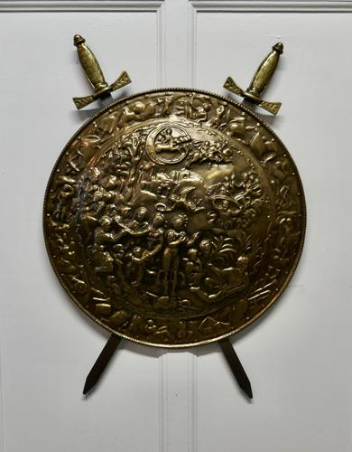 Large Decorative Wall Hanging Brass Shield with Cross Swords (1 of 7)
