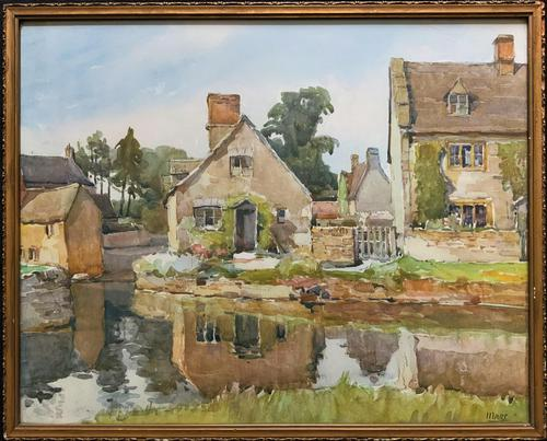 Gorgeous Early 20th Century Country River Hamlet British Landscape Watercolour Painting (1 of 12)