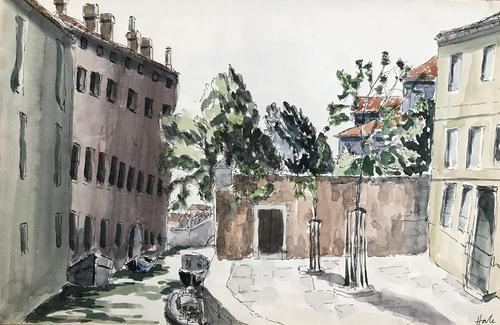 Original watercolour 'a backwater of Venice' by Helen Hale. ROI. B.1936 Signed c.1970 (1 of 1)