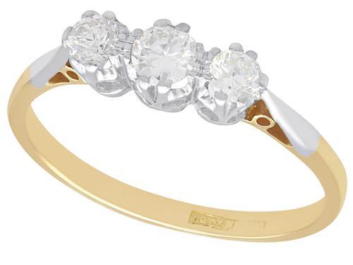 0.48ct Diamond & 18ct Yellow Gold, Platinum Set Trilogy Ring c.1930 (1 of 9)