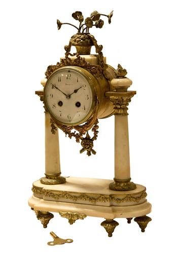 Mid 19th Century French Ormolu & Alabaster Portico Clock (1 of 8)
