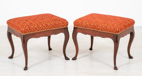 Pair of Mahogany Queen Anne Style Stools (1 of 6)