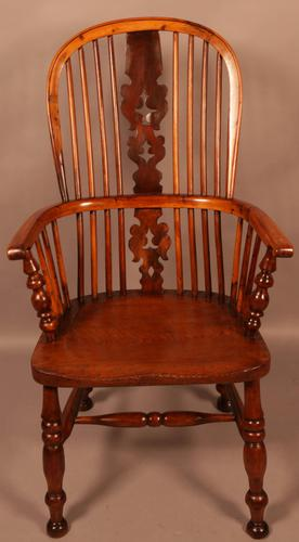 Yew Wood High Windsor Chair c.1850 (1 of 9)