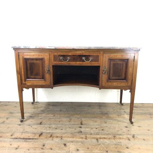 Edwardian Mahogany Sideboard with Marble Top (1 of 9)