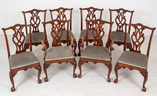 Set of 8 Mahogany Chippendale Style Dining Chairs (1 of 17)