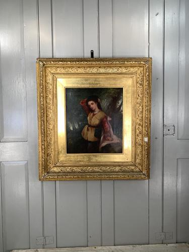 Antique Re-Raphaelite oil painting portrait of aristocratic young girl (1 of 2) (1 of 10)