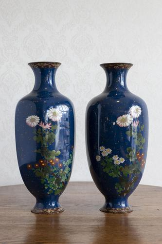 Large Pair of 19th Century Japanese Cloisonné Vases (1 of 8)