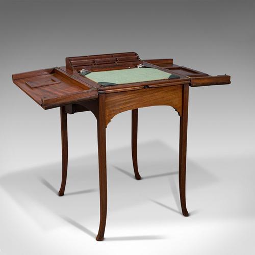 Antique Writing Desk, English, Mahogany, Side, Correspondence Table, Edwardian (1 of 12)