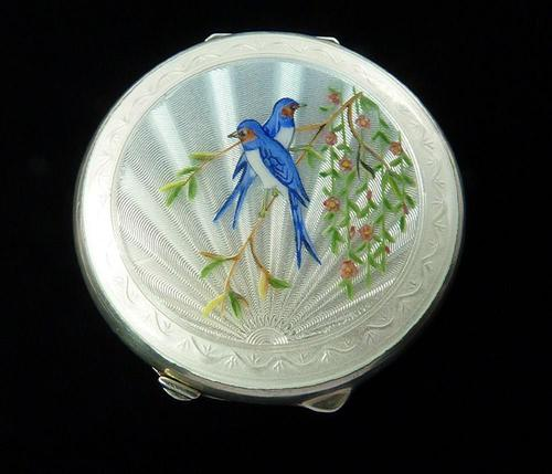 Sterling Silver Blue Bird Guilloche Enamel Compact Mirror (1 of 7)