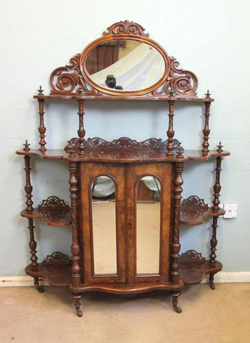 Antique Victorian Burr Walnut Display Whatnot Side Cabinet (1 of 13)