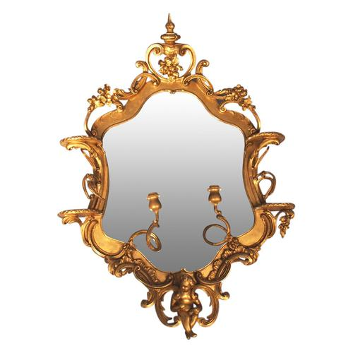 Victorian French Giltwood Girandole Mirror (1 of 10)
