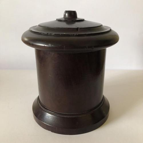 Victorian Turned Wood Lignum Vitae String Box (1 of 10)