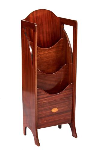 Edwardian Inlaid Mahogany Magazine Rack (1 of 6)