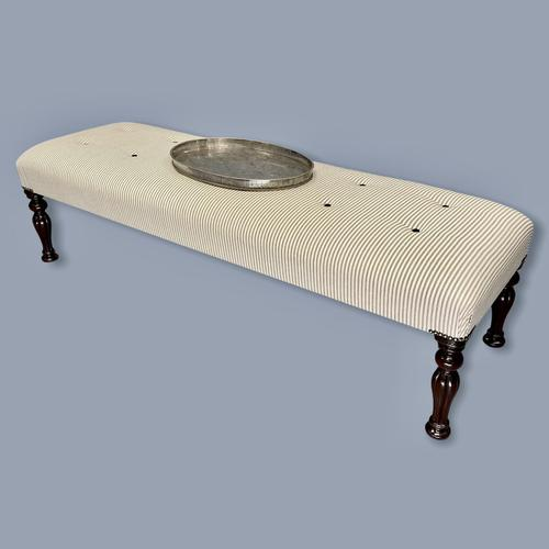 Long and Low Buttoned Footstool in Ticking (1 of 8)
