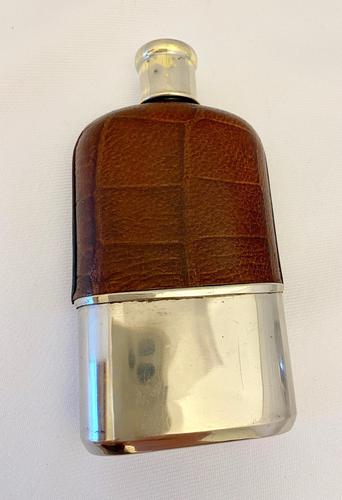 Silver Plated Spirit Flask c.1910 (1 of 4)