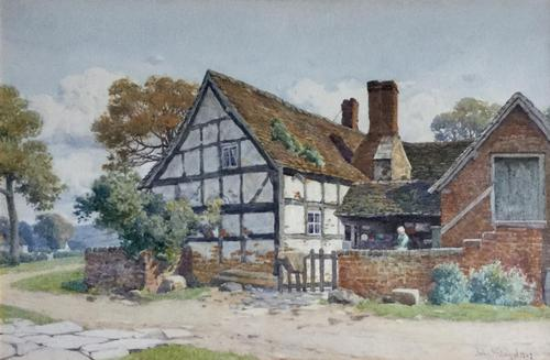 John McDougal Watercolour 'A Worcestershire Farm House' (1 of 2)