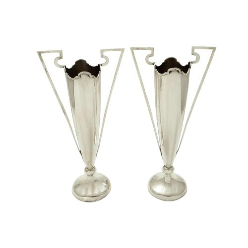 Pair of Antique Edwardian Sterling Silver Vases  1908 (1 of 7)