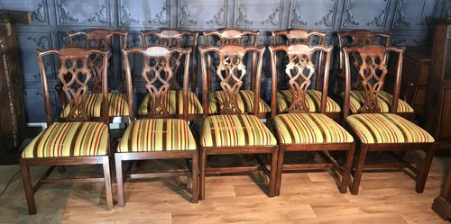Set of Ten Georgian Style Mahogany Dining Chairs (1 of 13)