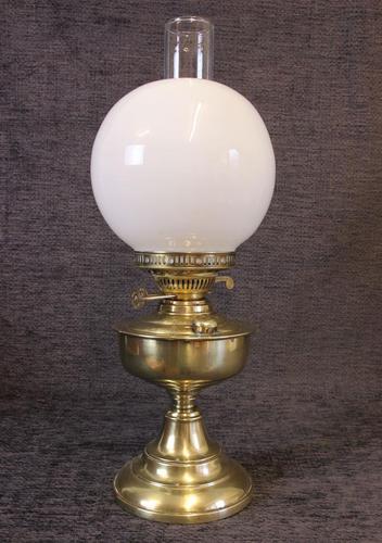 Brass Oil Lamp Opal White Shade (1 of 6)