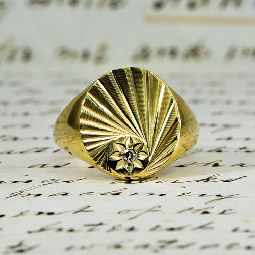The Vintage 1987 Sunrise Diamond Signet Ring (1 of 7)