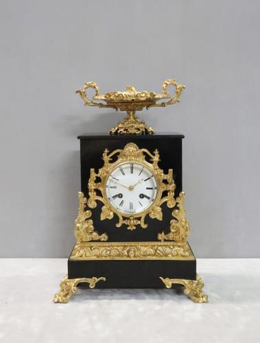 French Rococo Style Black Slate & Bronze Gilt Mantel Clock by Japy Freres (1 of 9)