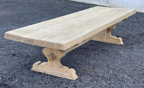 Huge French Bleached Oak Farmhouse Dining Table (1 of 34)