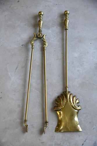 Quality Antique Brass Fire Shovel & Tongs (1 of 9)