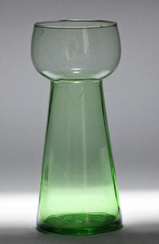 Green, panel-moulded Victorian hyacinth vase, (1 of 3)