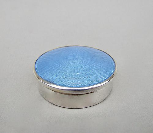 Art Deco Silver & Guilloche Enamel Pill Box by Adie Brothers, Birmingham 1928 (1 of 5)