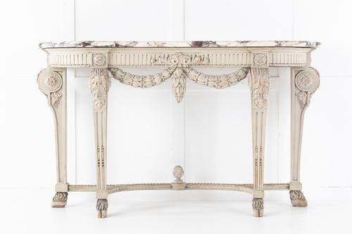 19th Century Painted Console Table with Breccia Marble Top (1 of 13)