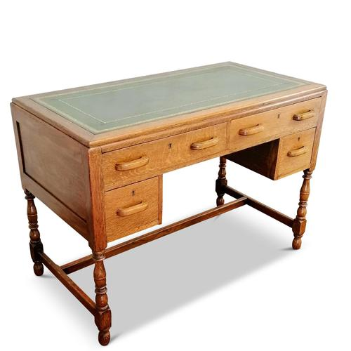 Lovely Little Vintage Desk with Green Leather Top & Drawers c.1970 (1 of 8)