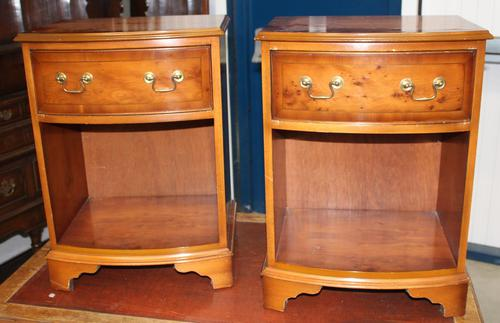1960s Pair Yew Wood Bedsides Cabinets (1 of 4)