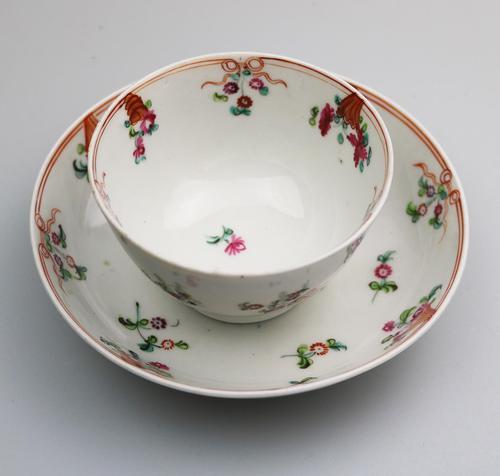 New Hall Porcelain Tea Bowl & Saucer, ex de Saye Hutton Collection 1790 (1 of 6)