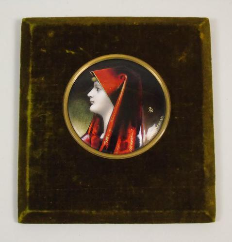 Enamelled Miniature Portrait Saint Fabiola after Jean Jacques Henner (1 of 6)