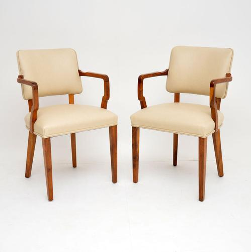 Pair of Vintage Art Deco Walnut Armchairs (1 of 9)