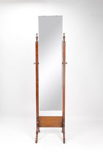 Tall Vintage Oak Cheval Mirror (1 of 13)