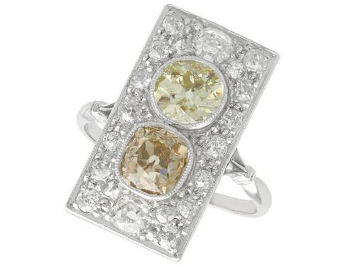 3.24ct Diamond & Platinum Dress Ring - Antique French c.1910 (1 of 9)