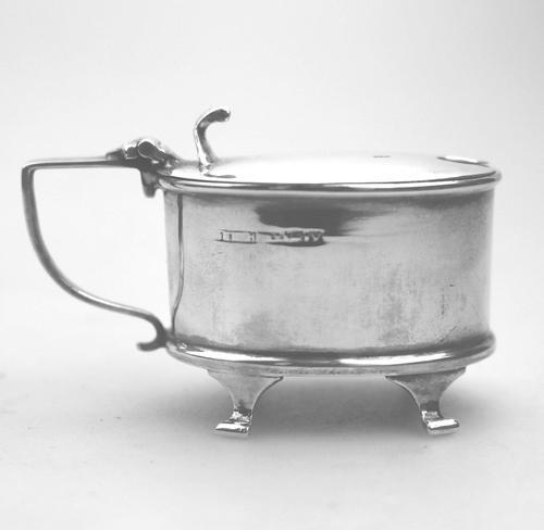 Solid Silver Oval Mustard & Liner Birmingham c.1920 (1 of 6)