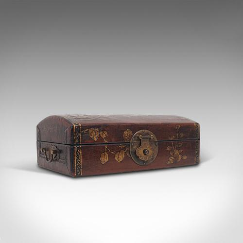 Antique Jewellery Box, Japanese, Leather, Desk Caddy, Meiji Period c.1900 (1 of 12)