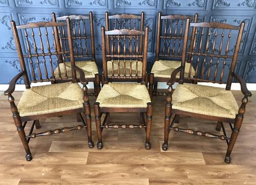 Set of Six Oak Spindle Back Dining Chairs (1 of 12)