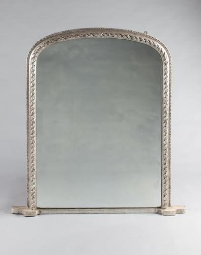 19th Century English Silvered Overmantle Mirror (1 of 7)