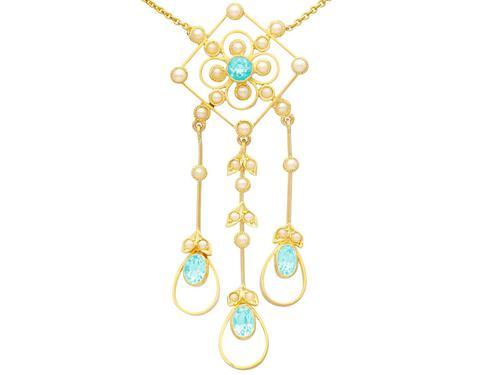 1.15ct Aquamarine & Seed Pearl, 15ct Yellow Gold Pendant - Antique c.1910 (1 of 12)