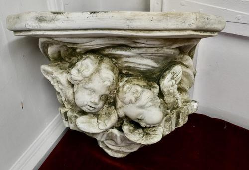Sleeping Angels, Large Stoneware Weathered Wall Bracket (1 of 7)
