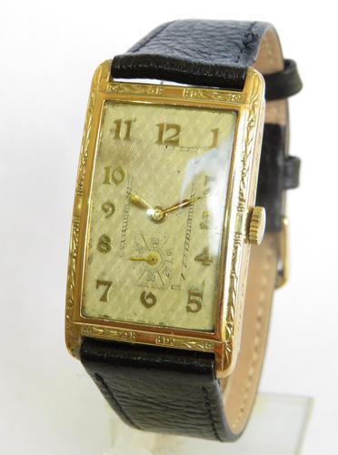 Good Sized Mens 9ct Gold Art Deco Wrist Watch (1 of 5)