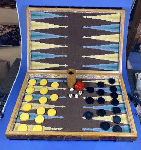 Edwardian French Leather Double book box with Backgammon set to the inside (1 of 14)