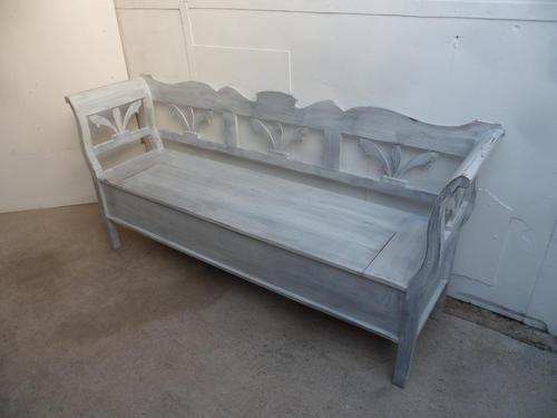 White & Grey 3 Seater Antique Pine Kitchen / Hall Box Settle/ Bench (1 of 10)