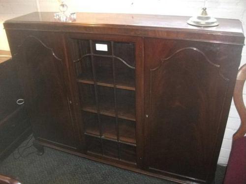 Large Glazed Mahogany Bookcase Cabinet (1 of 4)